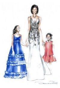 oscar-de-la-renta-sketch-for-michelle-obama-and-daughters1