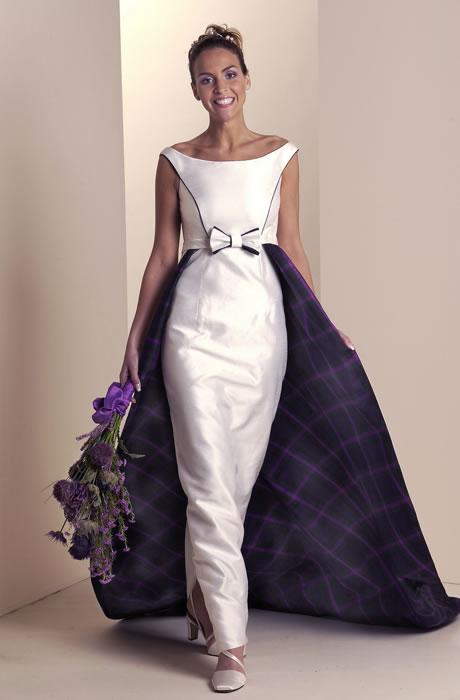 Tartan spirit bridal collection the fashionbrides for Scottish wedding dresses with tartan
