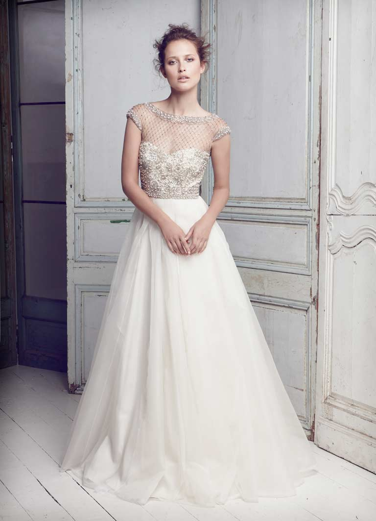 11115045l lattice pearls beaded bodice gown1 With wedding dress with beaded bodice