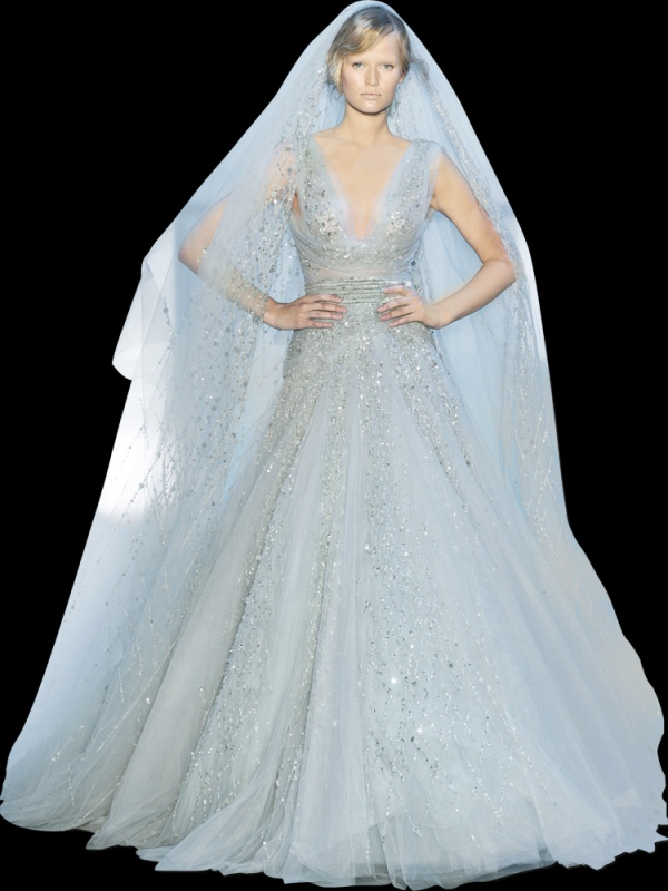 Elie saab fall winter 2011 couture collection the for Elie saab blush wedding dress