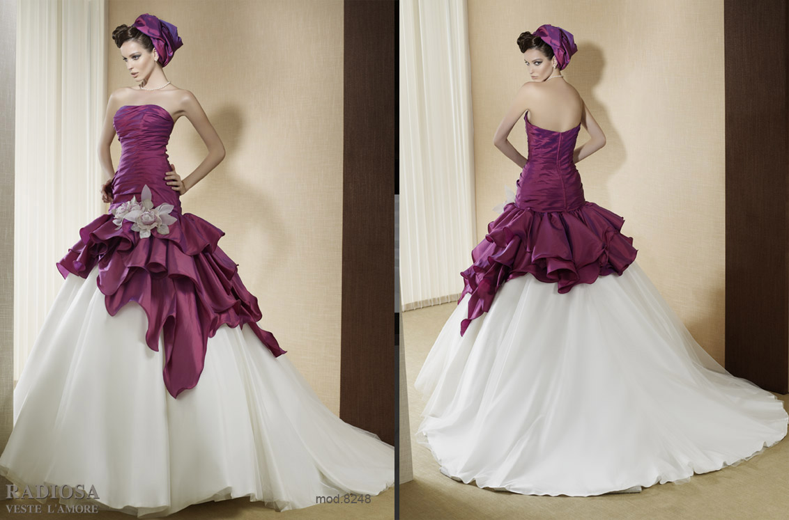 Radiosa spring summer 2012 bridal collection i the for Wedding dresses in color