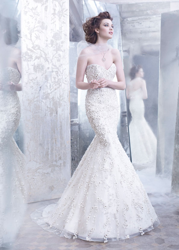 Lazaro 2012 fall bridal collection the fashionbrides for Tulle trumpet wedding dress