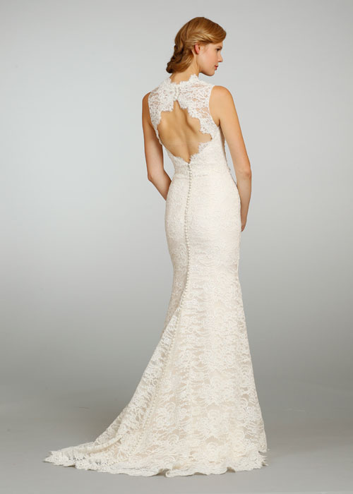 Jim hjelm bridal beaded lace organza modified a line gown for Lace button back wedding dress