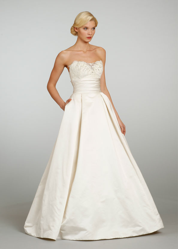 Jim Hjelm Bridal Silk Faced Duchess Satin Ball Gown Strapless Lace Embroidered Pleated Chapel