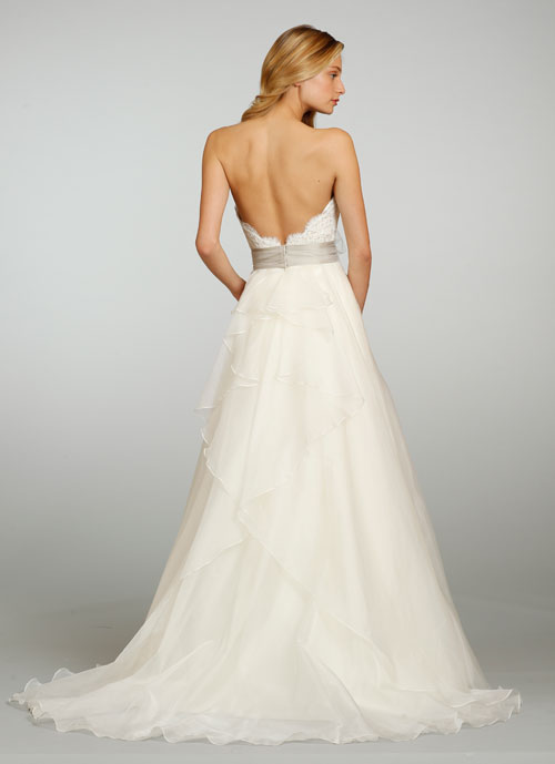 Jim Hjelm Bridal Silk Organza A Line Gown Strapless Lace