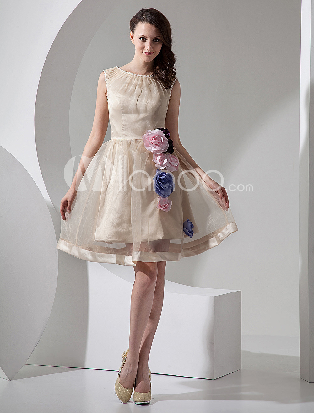 champagne a line short organza mini wedding dress 10380 1