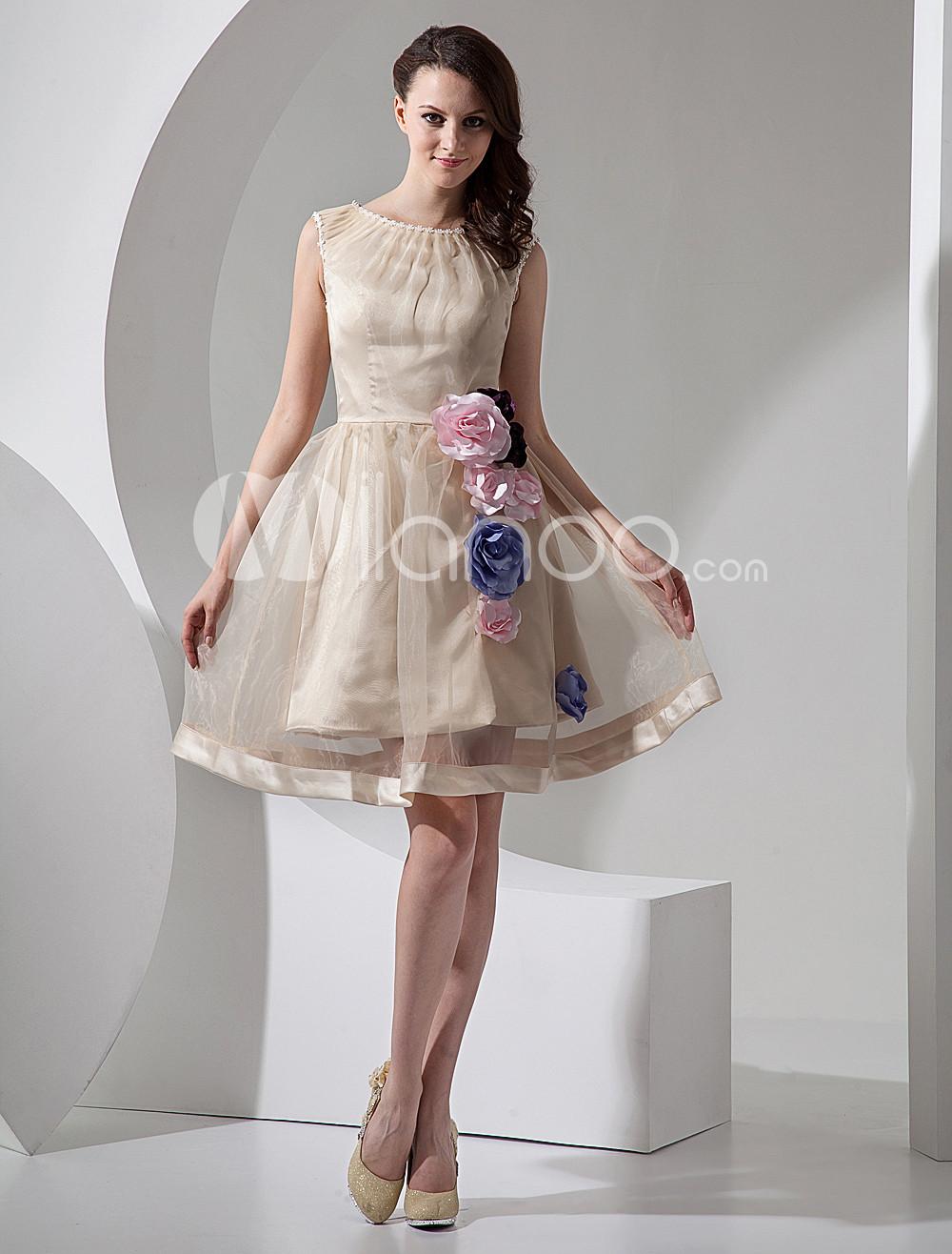 Short Mini Wedding Dresses » Champagne A Line Short Organza Mini Wedding  Dress 10380 1