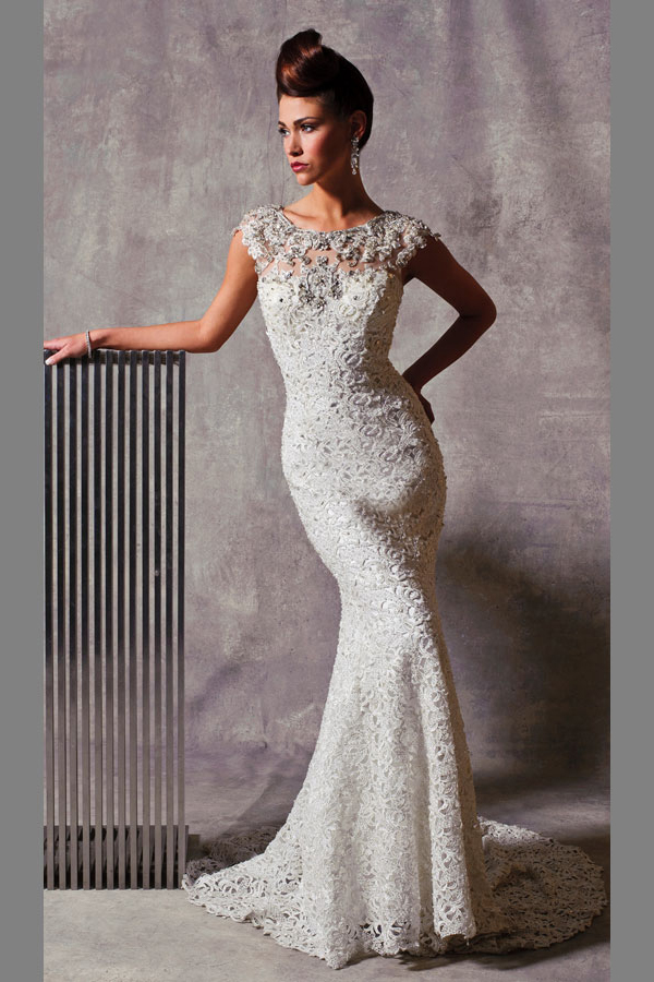1 stephen yearick bridal gown lace sheath beaded illusion for Cap sleeve sheath wedding dress