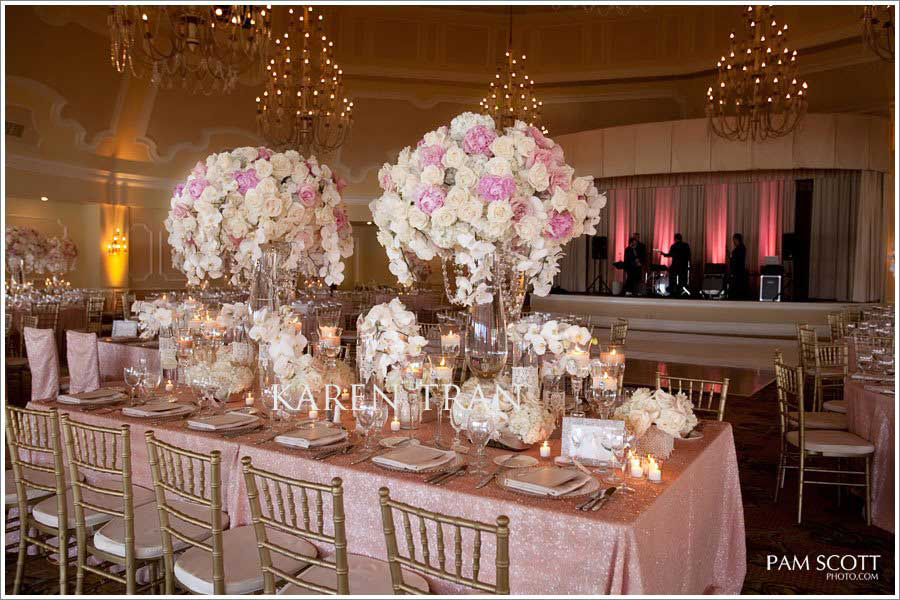 Pink and gold wedding glamorous1 the fashionbrides tips tricks decide on a theme pink and gold wedding glamorous1 junglespirit Choice Image