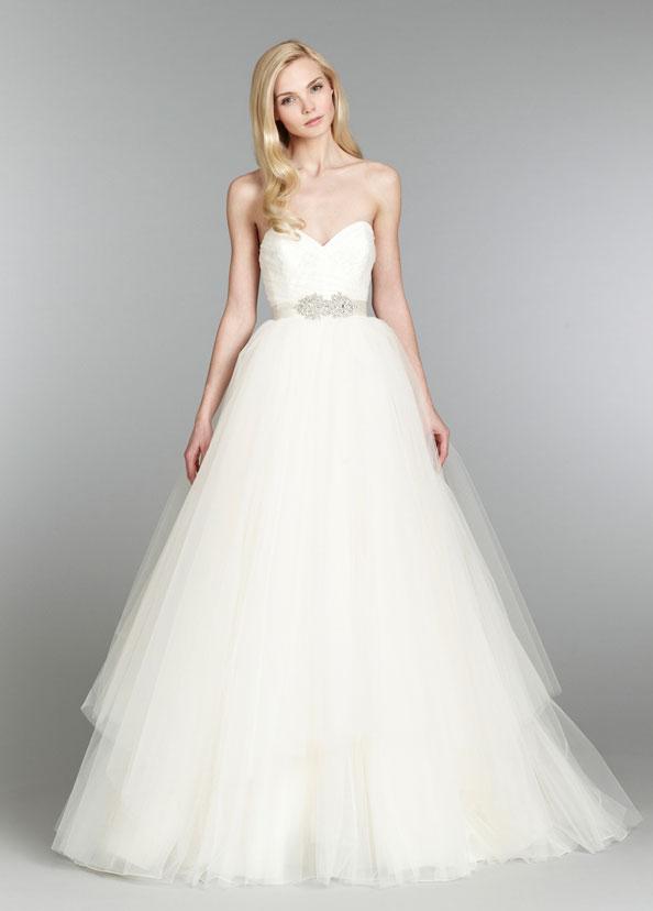 Jim hjelm blush bridal strapless natural waist ball gown for Lace blush wedding dress