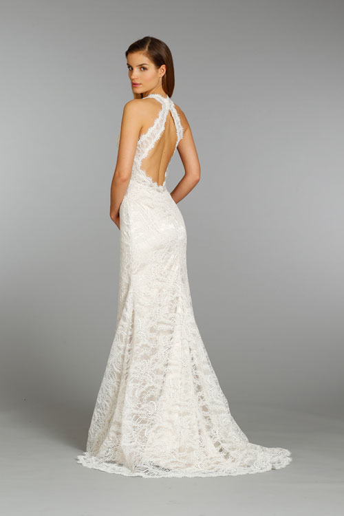 Wedding Dresses Modified A Line : Jim hjelm bridal alencon lace charmeuse modified a line gown v