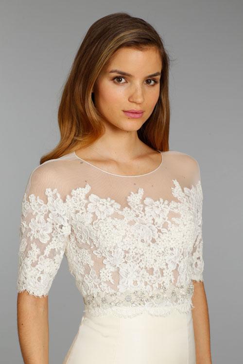 Jim hjelm bridal silk taffeta trumpet gown alencon lace for Lace three quarter sleeve wedding dress