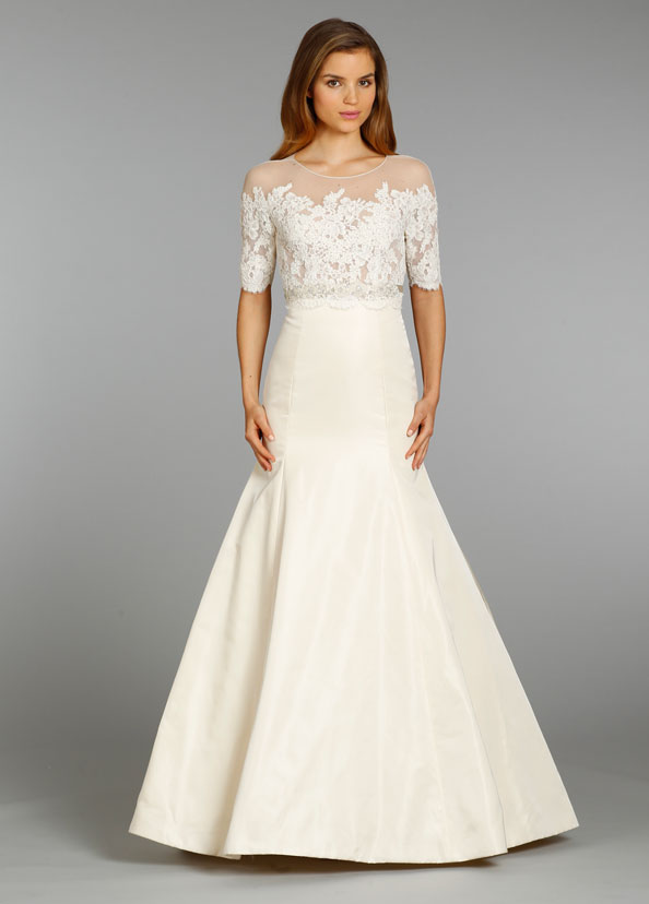 Jim hjelm bridal silk taffeta trumpet gown alencon lace for Wedding dresses with three quarter length sleeves