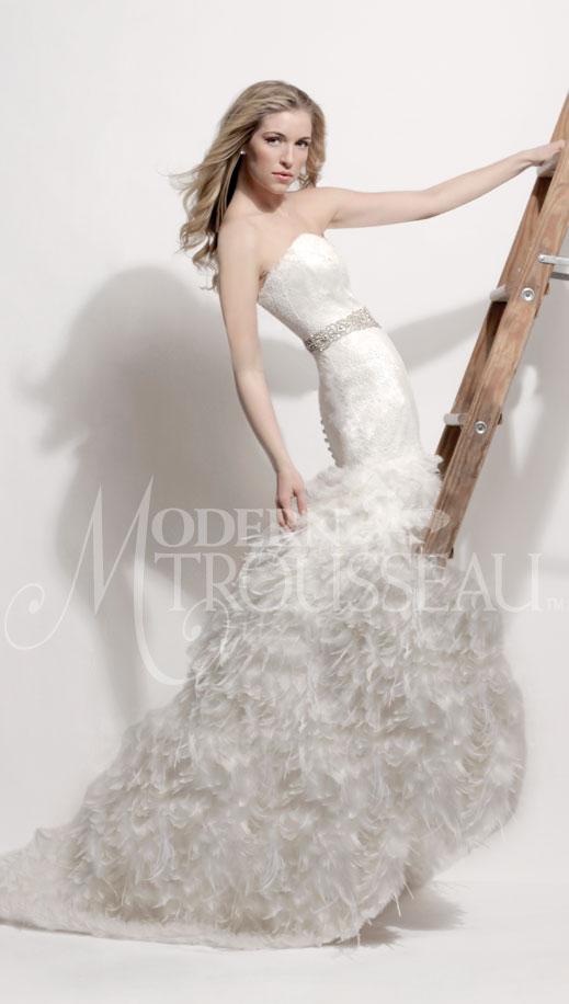 Swan Feather Wedding Dress By Modern Trousseau