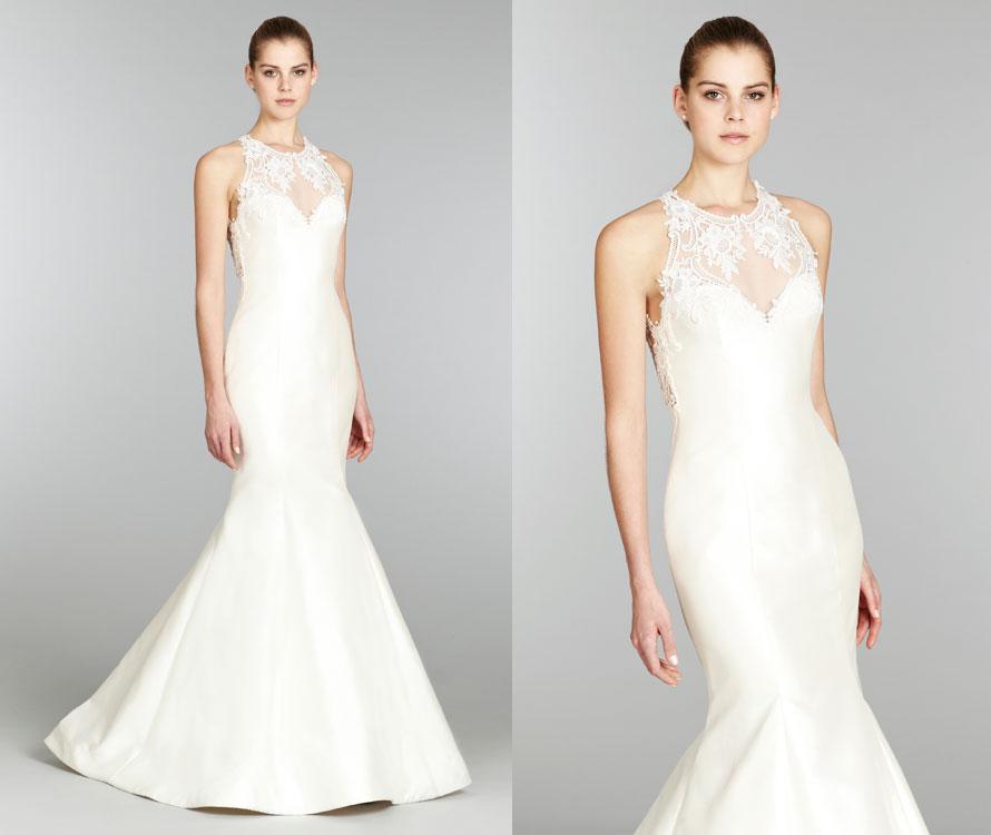 Lazaro bridal silk mikado trumpet gown sweetheart lace for Illusion sweetheart neckline wedding dress