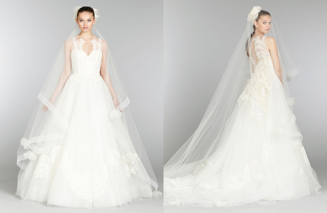 Tulle Ball Gown Wedding Dress: Lazaro-bridal-tulle-ball-gown-cameo-sweetheart-neck-floral