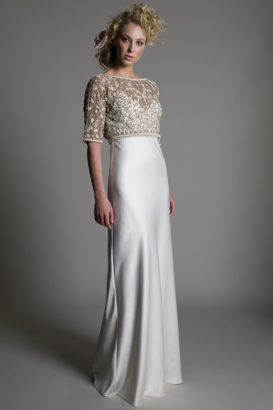 Kate halfpenny spring 2014 bridal collection the for Lace top silk bottom wedding dress