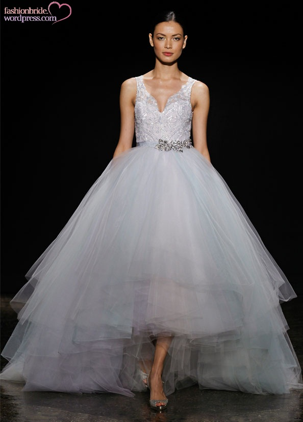 Lazaro Bridal Tulle Ball Gown Beaded Lace V Neck Crystal Natural