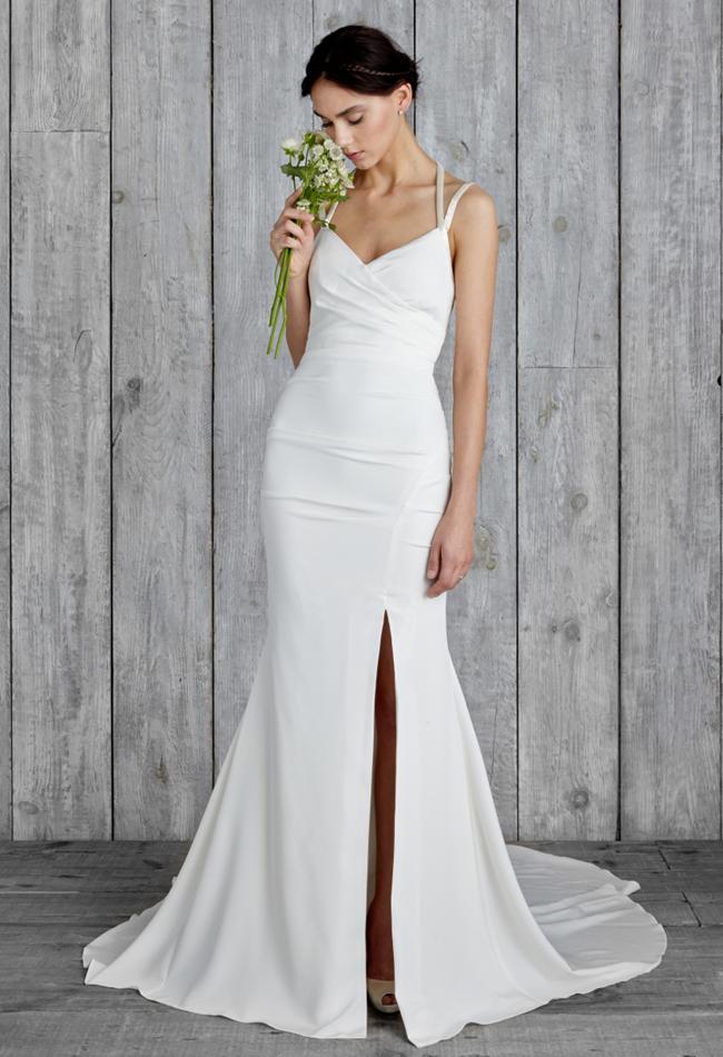 nicole-miller-high-slit-wedding-dress-01 | The FashionBrides