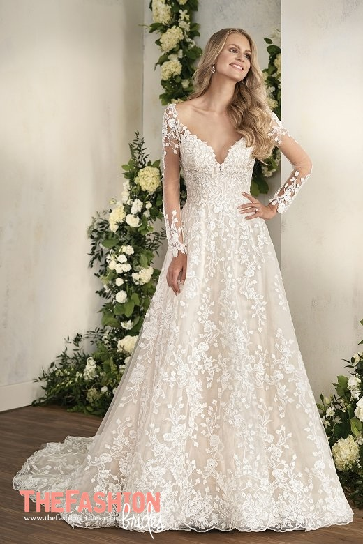 Jasmine couture 2018 spring bridal collection the for Wedding dress with illusion top